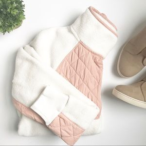 Abercrombie and Fitch • Pink/Cream Snap Up Fleece